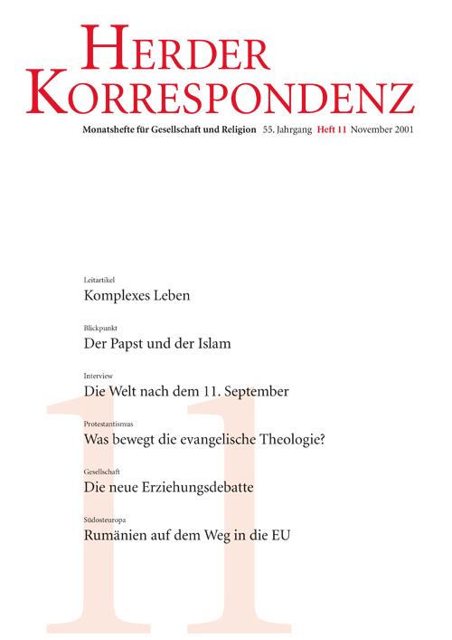 Herder Korrespondenz. Monatsheft für Gesellschaft und Religion 55 (2001) Heft 11