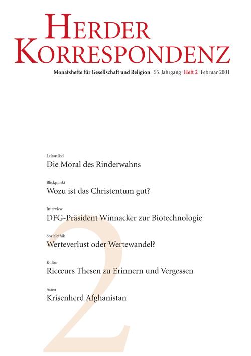Herder Korrespondenz. Monatsheft für Gesellschaft und Religion 55 (2001) Heft 2