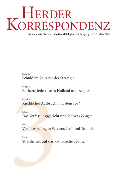 Herder Korrespondenz. Monatsheft für Gesellschaft und Religion 55 (2001) Heft 3