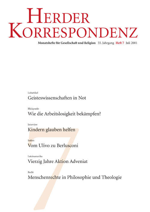 Herder Korrespondenz. Monatsheft für Gesellschaft und Religion 55 (2001) Heft 7