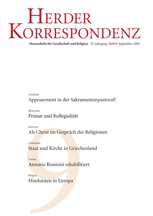 Herder Korrespondenz. Monatsheft für Gesellschaft und Religion 55 (2001) Heft 9
