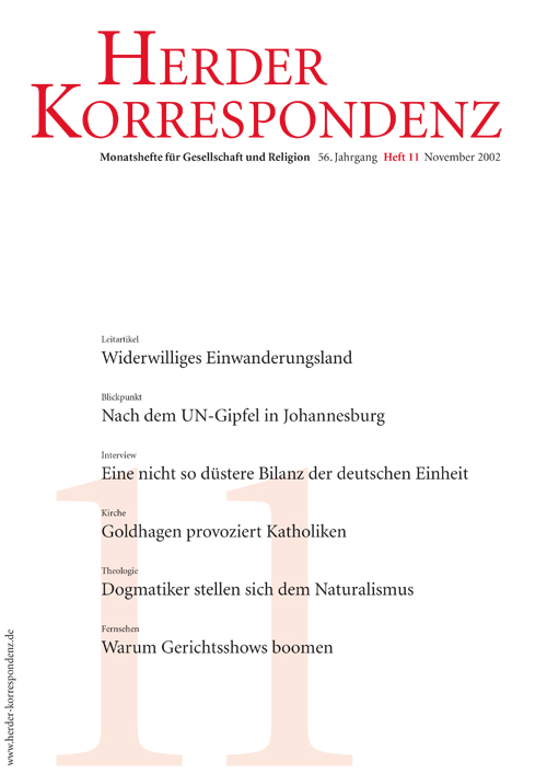 Herder Korrespondenz. Monatsheft für Gesellschaft und Religion 56 (2002) Heft 11