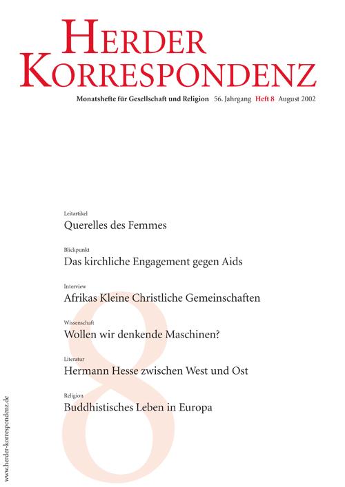 Herder Korrespondenz. Monatsheft für Gesellschaft und Religion 56 (2002) Heft 8