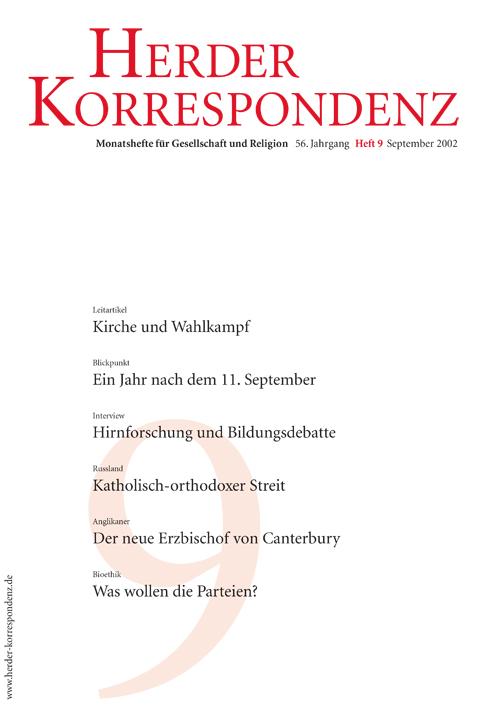 Herder Korrespondenz. Monatsheft für Gesellschaft und Religion 56 (2002) Heft 9