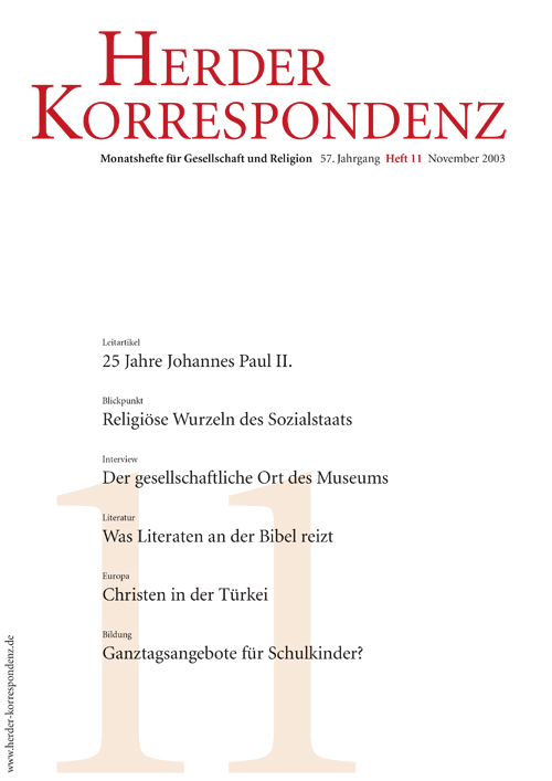 Herder Korrespondenz. Monatsheft für Gesellschaft und Religion 57 (2003) Heft 11