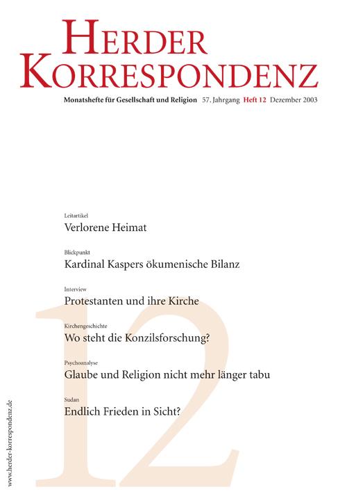 Herder Korrespondenz. Monatsheft für Gesellschaft und Religion 57 (2003) Heft 12