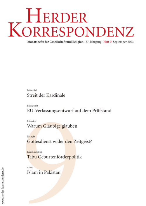 Herder Korrespondenz. Monatsheft für Gesellschaft und Religion 57 (2003) Heft 9