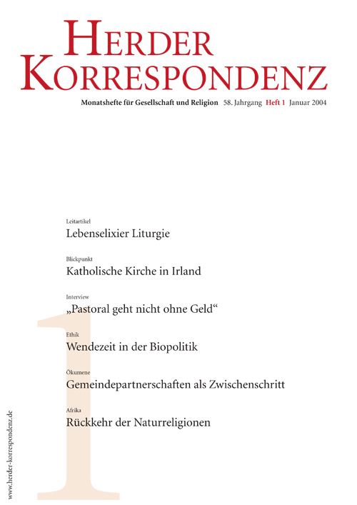 Herder Korrespondenz. Monatsheft für Gesellschaft und Religion 58 (2004) Heft 1