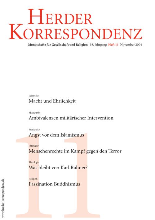 Herder Korrespondenz. Monatsheft für Gesellschaft und Religion 58 (2004) Heft 11
