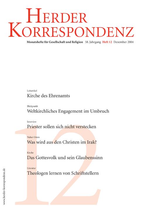 Herder Korrespondenz. Monatsheft für Gesellschaft und Religion 58 (2004) Heft 12