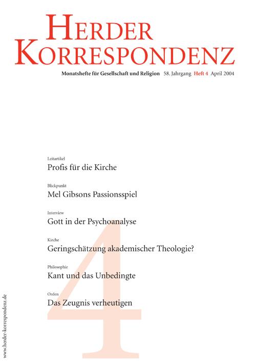 Herder Korrespondenz. Monatsheft für Gesellschaft und Religion 58 (2004) Heft 4