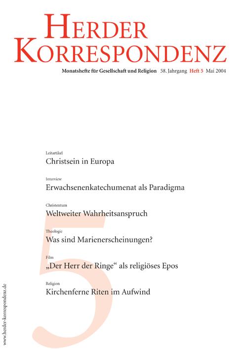 Herder Korrespondenz. Monatsheft für Gesellschaft und Religion 58 (2004) Heft 5