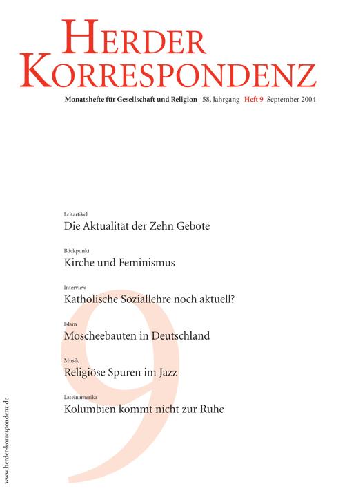 Herder Korrespondenz. Monatsheft für Gesellschaft und Religion 58 (2004) Heft 9