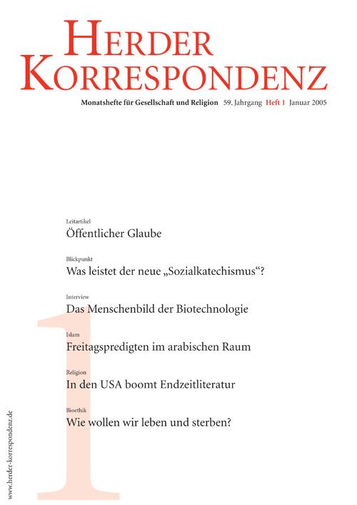Herder Korrespondenz. Monatsheft für Gesellschaft und Religion 59 (2005) Heft 1