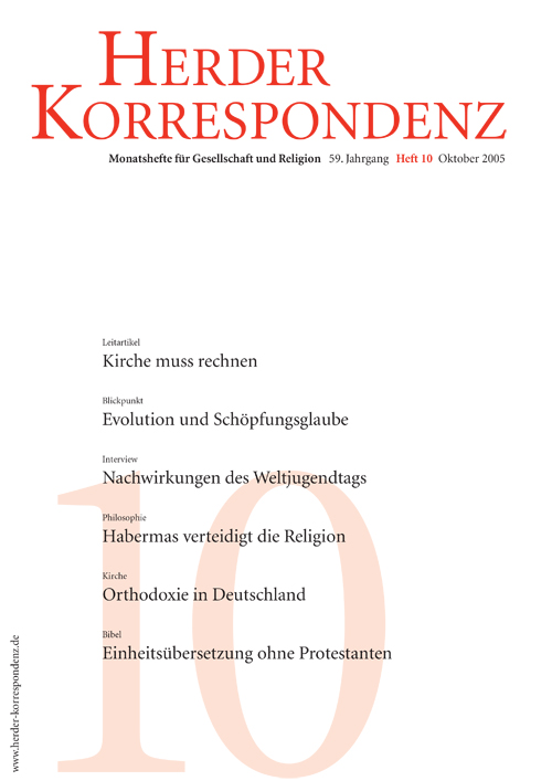 Herder Korrespondenz. Monatsheft für Gesellschaft und Religion 59 (2005) Heft 10