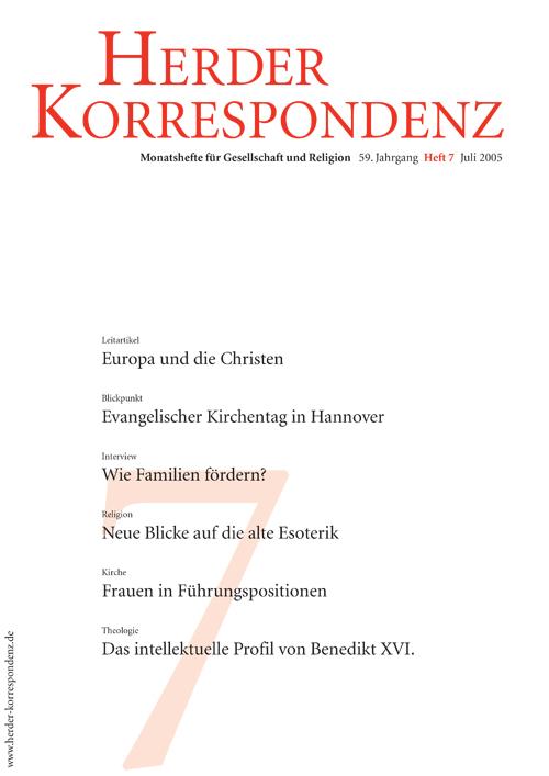 Herder Korrespondenz. Monatsheft für Gesellschaft und Religion 59 (2005) Heft 7