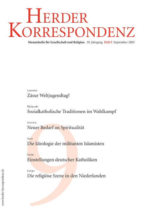 Herder Korrespondenz. Monatsheft für Gesellschaft und Religion 59 (2005) Heft 9