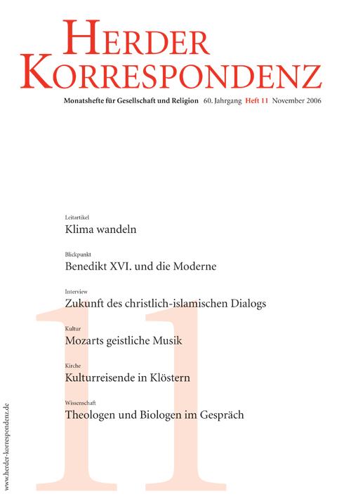 Herder Korrespondenz. Monatsheft für Gesellschaft und Religion 60 (2006) Heft 11