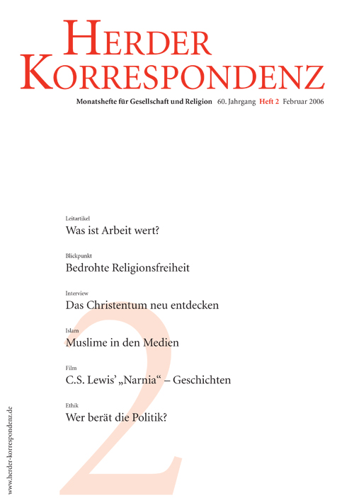 Herder Korrespondenz. Monatsheft für Gesellschaft und Religion 60 (2006) Heft 2