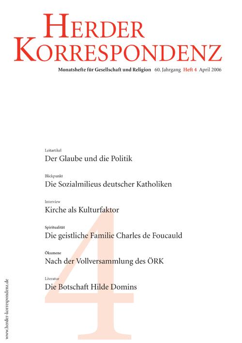 Herder Korrespondenz. Monatsheft für Gesellschaft und Religion 60 (2006) Heft 4