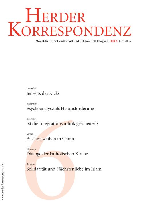 Herder Korrespondenz. Monatsheft für Gesellschaft und Religion 60 (2006) Heft 6