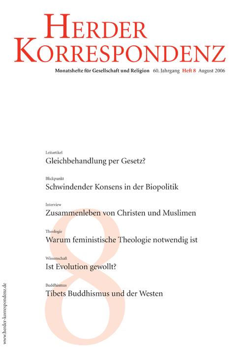 Herder Korrespondenz. Monatsheft für Gesellschaft und Religion 60 (2006) Heft 8