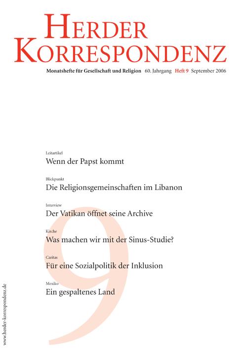 Herder Korrespondenz. Monatsheft für Gesellschaft und Religion 60 (2006) Heft 9