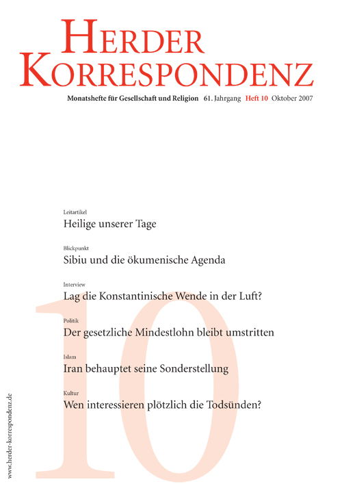 Herder Korrespondenz. Monatsheft für Gesellschaft und Religion 61 (2007) Heft 10