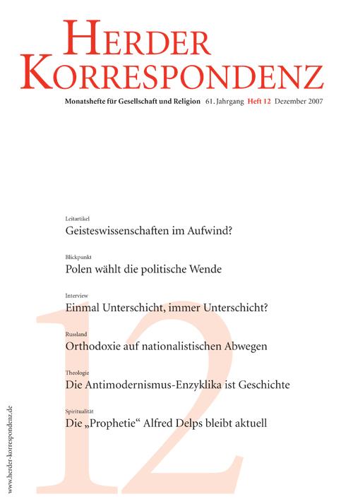 Herder Korrespondenz. Monatsheft für Gesellschaft und Religion 61 (2007) Heft 12
