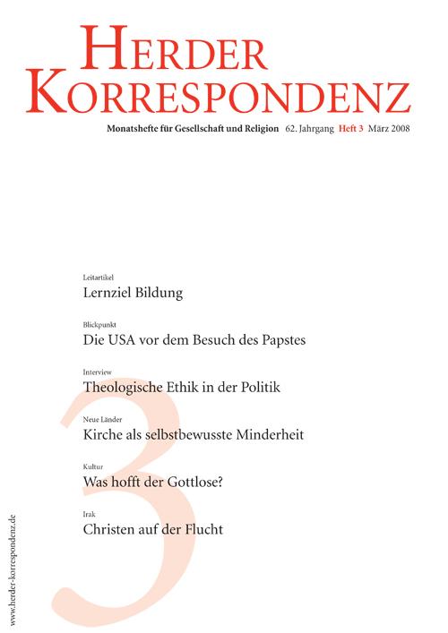 Herder Korrespondenz. Monatsheft für Gesellschaft und Religion 62 (2008) Heft 3