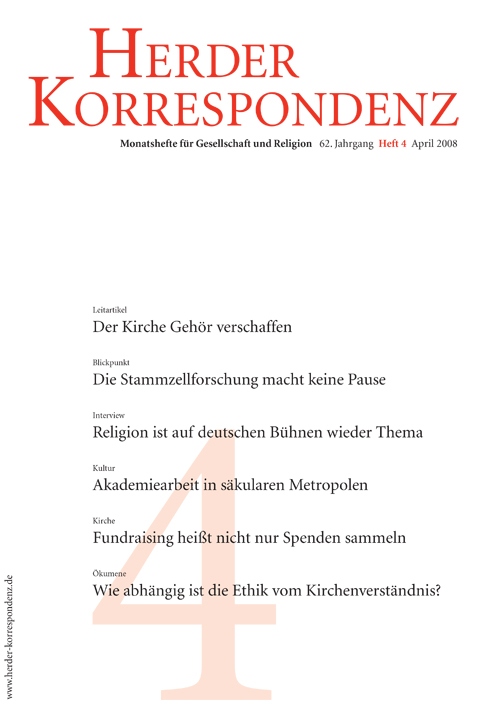 Herder Korrespondenz. Monatsheft für Gesellschaft und Religion 62 (2008) Heft 4