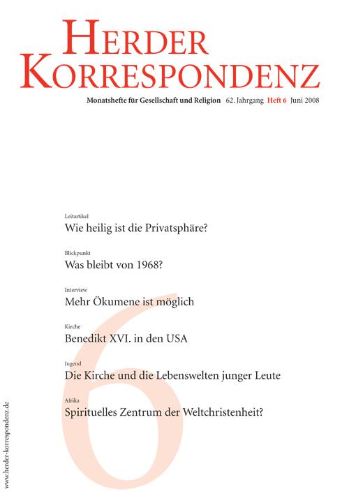 Herder Korrespondenz. Monatsheft für Gesellschaft und Religion 62 (2008) Heft 6