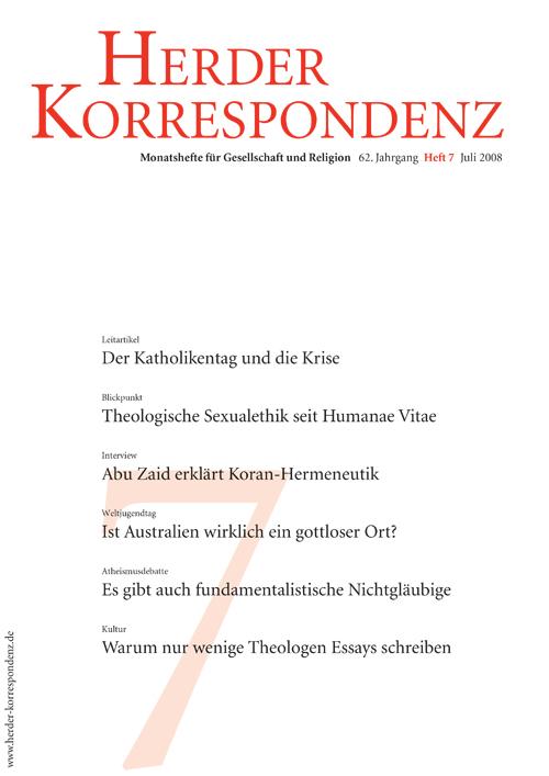 Herder Korrespondenz. Monatsheft für Gesellschaft und Religion 62 (2008) Heft 7