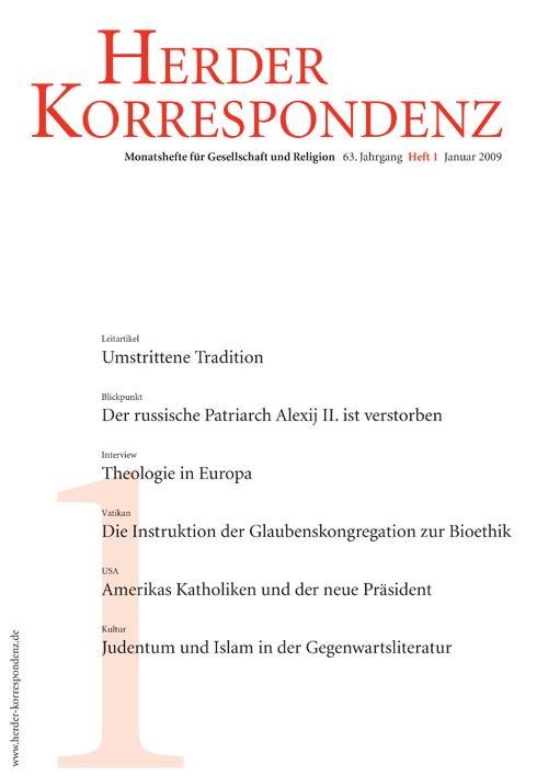 Herder Korrespondenz. Monatsheft für Gesellschaft und Religion 63 (2009) Heft 1