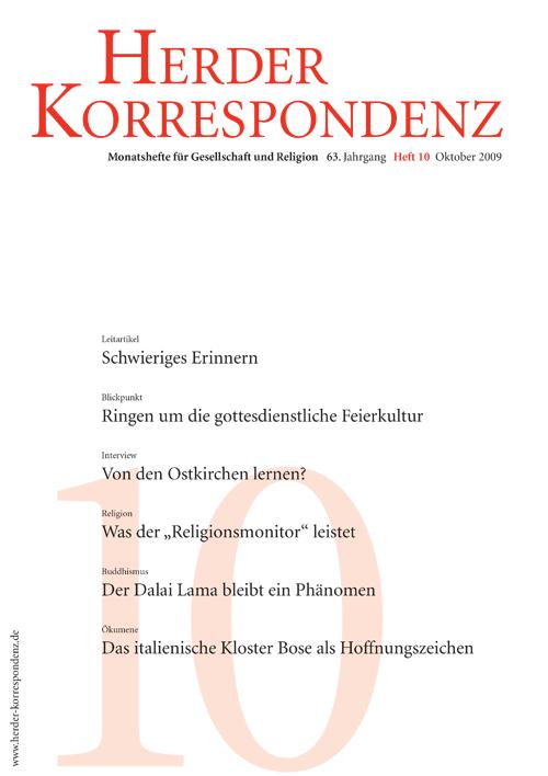 Herder Korrespondenz. Monatsheft für Gesellschaft und Religion 63 (2009) Heft 10