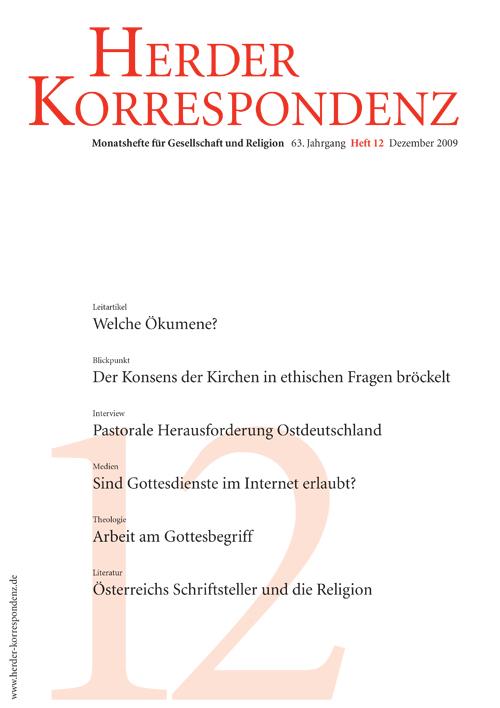 Herder Korrespondenz. Monatsheft für Gesellschaft und Religion 63 (2009) Heft 12
