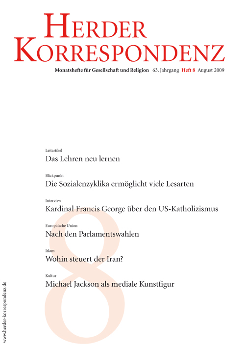 Herder Korrespondenz. Monatsheft für Gesellschaft und Religion 63 (2009) Heft 8