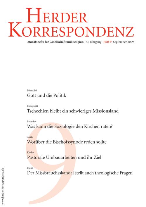 Herder Korrespondenz. Monatsheft für Gesellschaft und Religion 63 (2009) Heft 9