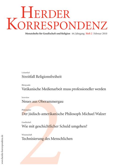Herder Korrespondenz. Monatsheft für Gesellschaft und Religion 64 (2010) Heft 2