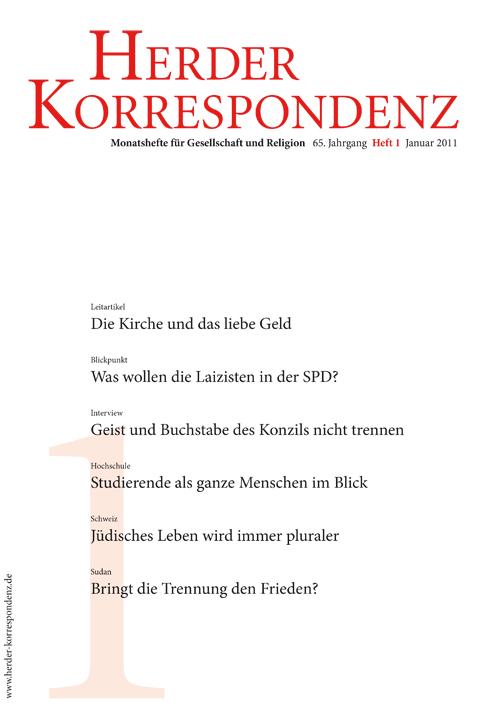 Herder Korrespondenz. Monatsheft für Gesellschaft und Religion 65 (2011) Heft 1