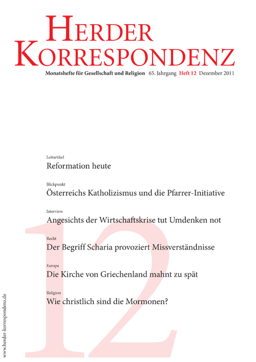 Herder Korrespondenz. Monatsheft für Gesellschaft und Religion 65 (2011) Heft 12