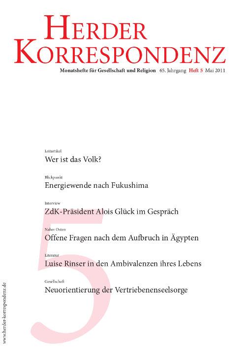 Herder Korrespondenz. Monatsheft für Gesellschaft und Religion 65 (2011) Heft 5
