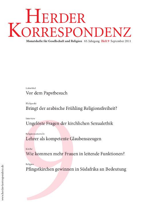 Herder Korrespondenz. Monatsheft für Gesellschaft und Religion 65 (2011) Heft 9