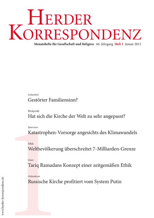 Herder Korrespondenz. Monatsheft für Gesellschaft und Religion 66 (2012) Heft 1