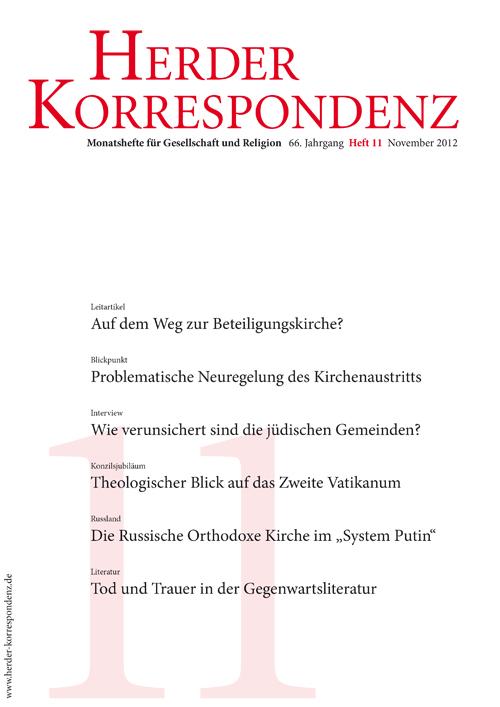 Herder Korrespondenz. Monatsheft für Gesellschaft und Religion 66 (2012) Heft 11