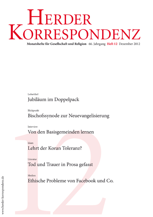 Herder Korrespondenz. Monatsheft für Gesellschaft und Religion 66 (2012) Heft 12
