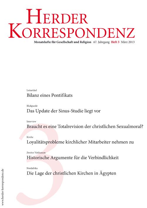 Herder Korrespondenz. Monatsheft für Gesellschaft und Religion 67 (2013) Heft 3