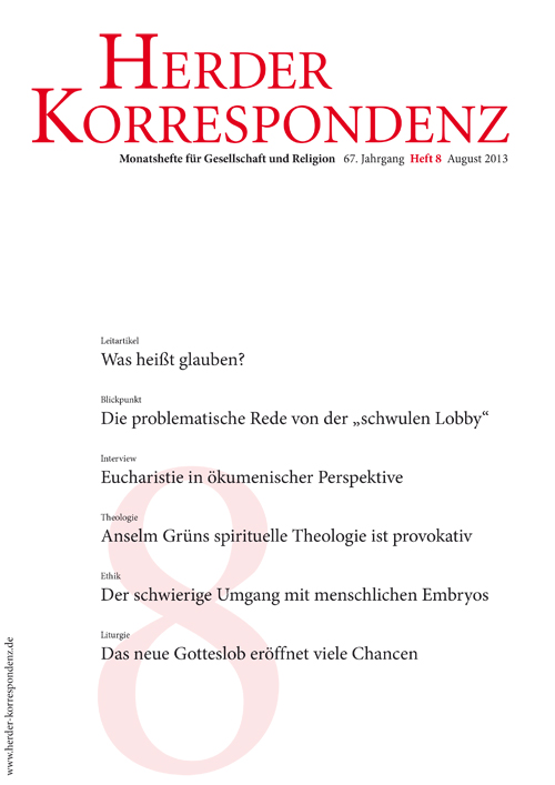 Herder Korrespondenz. Monatsheft für Gesellschaft und Religion 67 (2013) Heft 8
