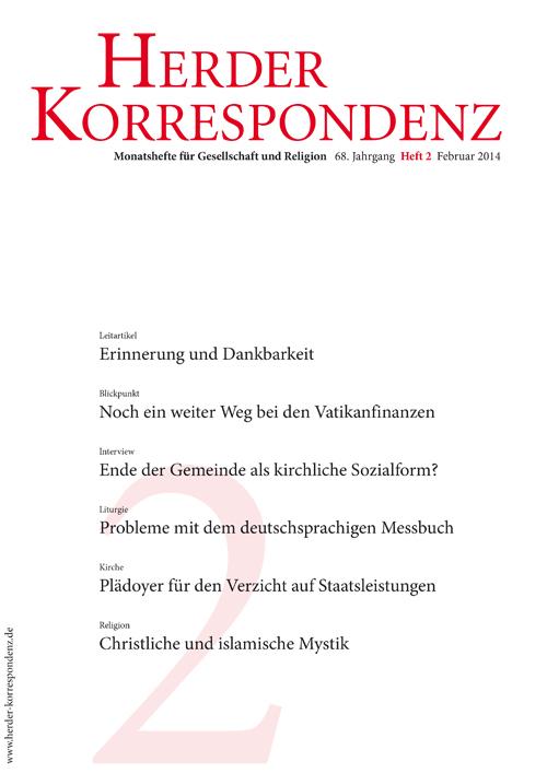 Herder Korrespondenz. Monatsheft für Gesellschaft und Religion 68 (2014) Heft 2