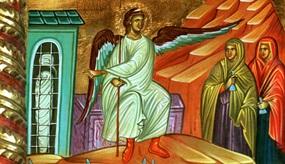 Vor dem leeren Grab Jesu